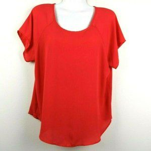 Meraki Womens Blouse Short Sleeve Split Back Large